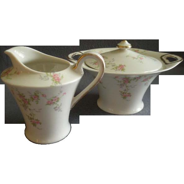 "Theodore Haviland, New York, ""Pink Spray"" Pattern - Sugar Bowl & Cream Pitcher Set"