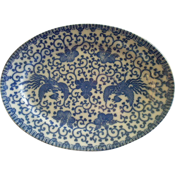 "Japan Blue & White Porcelain 'Phoenix' or ""Flying Turkey"" Oval Serving Platter"