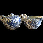 "Japan Blue & White Porcelain 'Phoenix' or ""Flying Turkey"" Covered Sugar & Cream Pitcher Set"