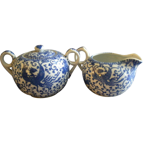 "Japan Blue & White Porcelain 'Phoenix' or ""Flying Turkey"" Covered Sugar & Cream Pitcher Set"
