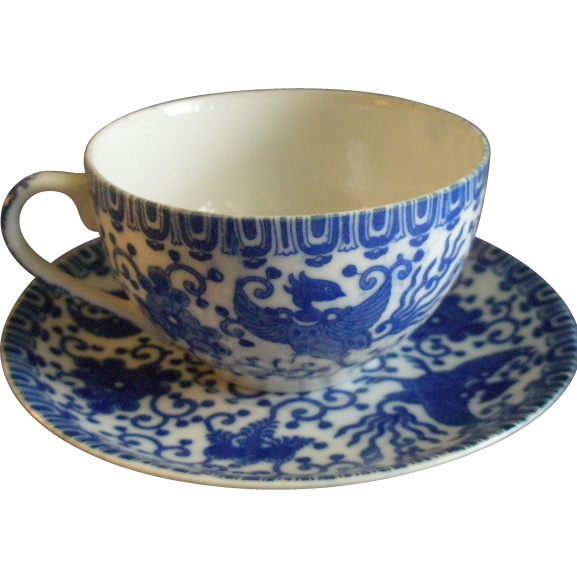 "Japan Blue & White Porcelain 'Phoenix' or ""Flying Turkey"" Set of 6 Tea Cups & Saucers"