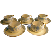 "Set of 5 Luken Studio H.P. China ""Forget-Me-Not"" Pattern Cups & Saucers"