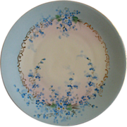 "Luken Studio H.P. China ""Forget-Me-Not"" Pattern Cabinet Plate"