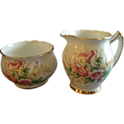 Thomas Forester & Sons (Ltd) Bone China Open Sugar & Creamer w/Hibiscus Floral Motif