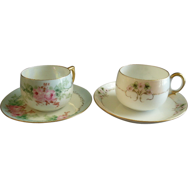 Set of 2 Home-Studio Hand Painted Cups & Saucers w/Floral Motif