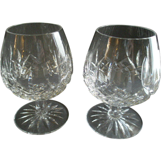 Set of 2 Waterford Crystal 'Lismore' Pattern Brandy Glasses