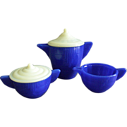 Akro Agate Children's Teapot, Covered Sugar & Creamer - Cobalt & White Colors