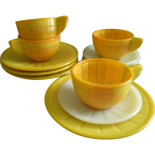 Akro Agate Children's 12-Pc Set of Plates, Cups & Saucers - Yellow, White & Pumpkin Colors
