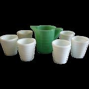 Akro Agate Children's Lemonade Pitcher & 6 Glasses - Jadite & White Colors