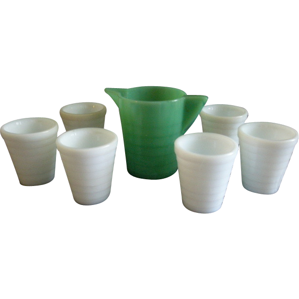 Akro Agate Children's Lemonade Pitcher & 6 Glasses - Jadite & White Colors