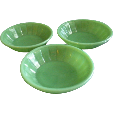 Akro Agate Children's Set of 3 Bowls - Jadite Color
