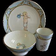 Hand Painted Porcelain 3 Pierce Baby Set w/Storks & Baby Images Motif