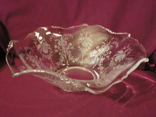 "Heisey Glass ""Orchid"" Flared Serving Bowl - Waverly Blank #1519"