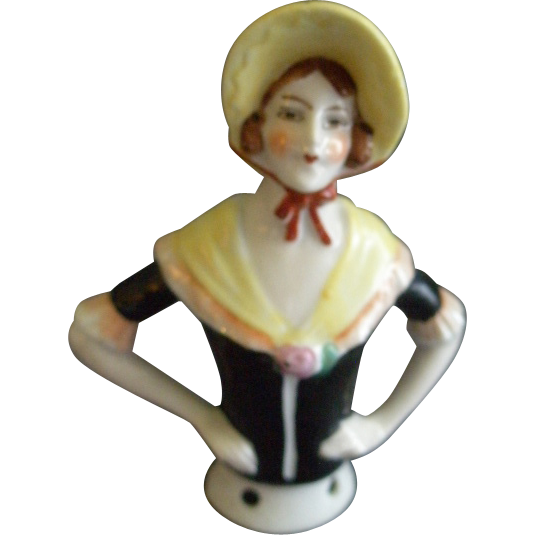 "Germany China Half-Doll ""Victorian"" Era Figure For Attachment On Pincushion"