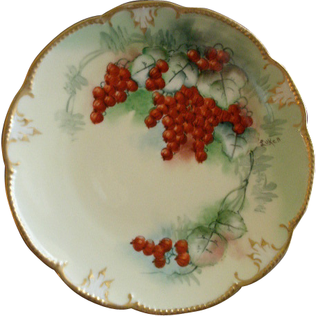 "Luken Studio H.P. China ""Ripe Red Currents"" Pattern Cabinet Plate"