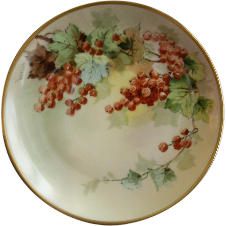 JHR Hutschenreuther Hand Painted Cabinet Plate w/Ripe Currants Motif