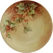 D & C France Hand Painted Cabinet Plate w/Red Currants Decoration