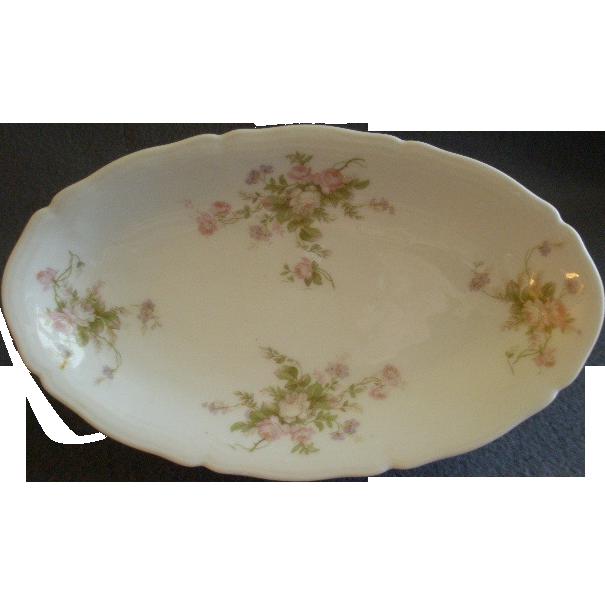 PH Leonard, Vienna, Austria, Porcelain Oval Platter w/Pink & White Rose Motif