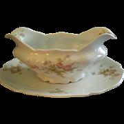 PH Leonard, Vienna, Austria, Porcelain Gravy Boat & Under-tray w/Pink & White Rose Motif