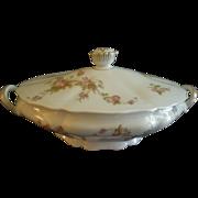 PH Leonard, Vienna, Austria, Porcelain Oval Covered Vegetable Bowl w/Pink & White Rose Motif