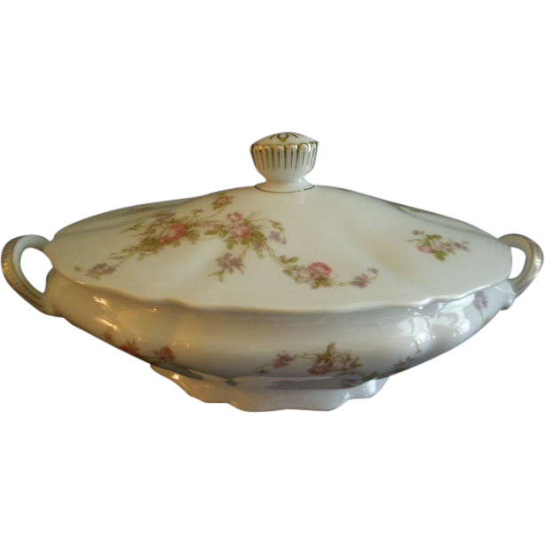 PH Leonard, Vienna, Austria, Porcelain Oval Covered Vegetable Bowl w/Pink & White Rose Motif