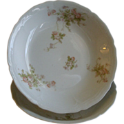 PH Leonard, Vienna, Austria, Porcelain Pair of Round Open Vegetable Bowls w/Pink & White Rose Motif
