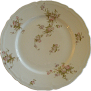 PH Leonard, Vienna, Austria, Porcelain Set of 6 Dinner Plates w/Pink & White Rose Motif