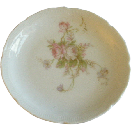 PH Leonard, Vienna, Austria, Porcelain Set of 10 Individual Butter Pats w/Pink & White Rose Motif