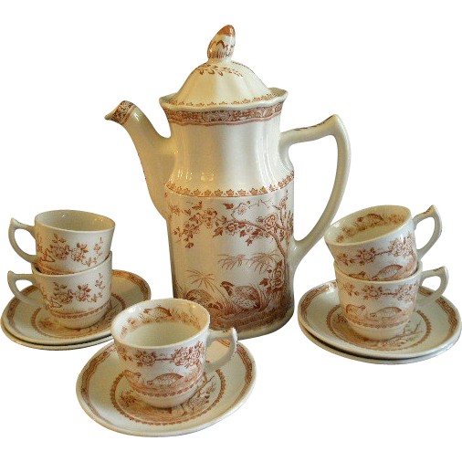 Furnivals Brown Transfer 'Quail' Pattern Coffee Pot & 5 Demi-tasse Cups & Saucers