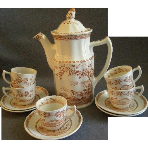 Furnivals Brown Transfer 'Quail' Pattern Coffee Pot & 5 Demi-tasse Cups & Saucers