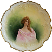 Lazeyras, Rosenfeld & Lehman (L R L) Limoges Portrait Plate of Beautiful Lady
