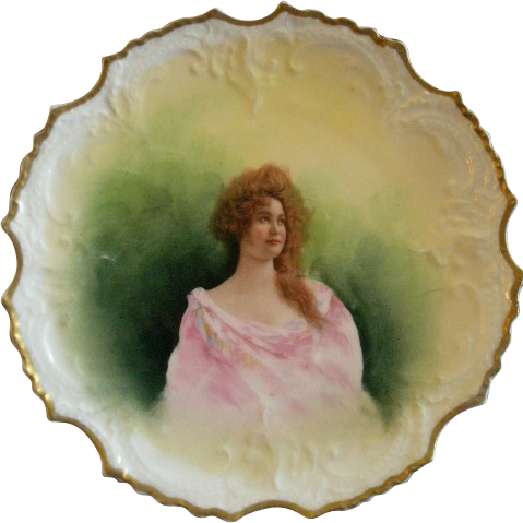 Lazeyras, Rosenfeld & Lehman Limoges Portrait Plate of Beautiful Lady