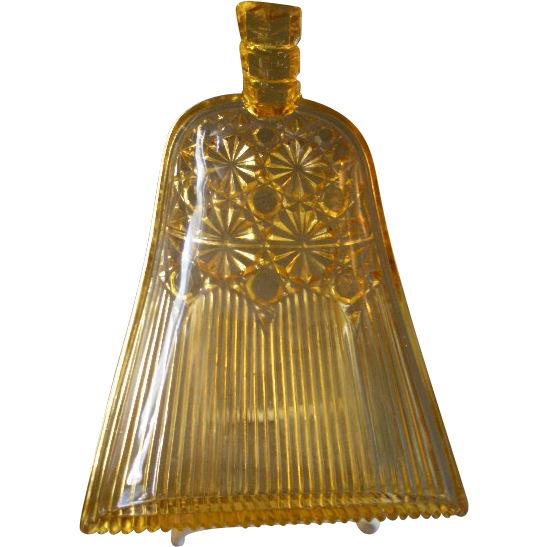 George Duncan & Sons Amber Glass Whisk Broom w/Daisy & Button Pattern