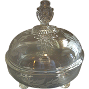 EAPG - Riverside Glass Works 'Grasshopper' Pattern Covered Butter Dish