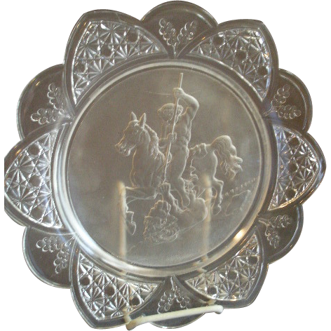 EAPG - Gillinder & Sons 'Classic' Pattern Plate w/Warrior Slaying a Lion