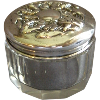Cut Glass Vanity/Dresser Jar w/Sterling Silver Floral Repousse Cover