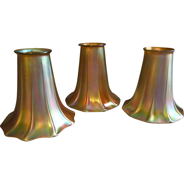 Set of 3 Steuben Unsigned Gold Aurene Trumpet/Morning Glory Shape Lamp Shades