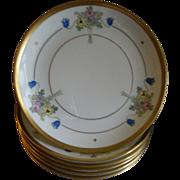 "Pickard Studio Hand Painted ""Russian Flowers"" Series, Set of 6 Dessert Plates"