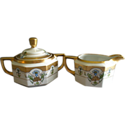 "Pickard Studio Hand Painted ""Russian Flowers"" Series, Covered Sugar & Creamer Set"