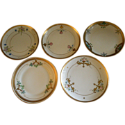 "Pickard Studio Hand Painted ""Russian Flowers"" Series, Group of 5 Dessert Plates"