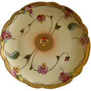Pickard Studio Hand Painted Cabinet Plate w/Delicate Pansy Blossoms Motif