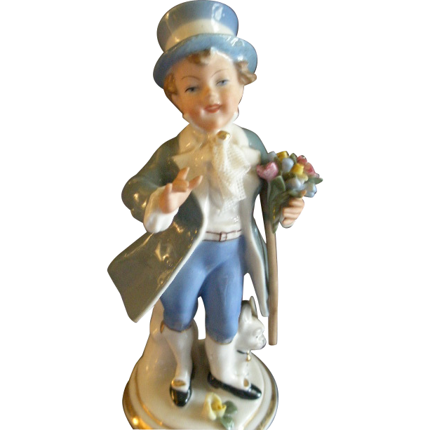 "Sandizell, Hoffner & Co. Dresden ""Young Lad w/Bouquet"" Figurine"