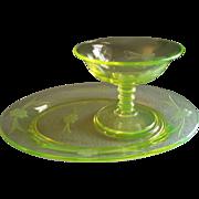 "Imperial Glass Company Vaseline (Uranium) ""Mah Jong"" Pattern Platter w/Sherbet - Set of Six"