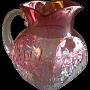 "EAPG - Northwood Rubina ""Royal Oak"" Pattern Cream Pitcher - Red Tag Sale Item"