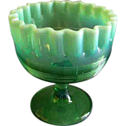 "Northwood Glass Green Opalescent ""Spool"" Candy Dish"