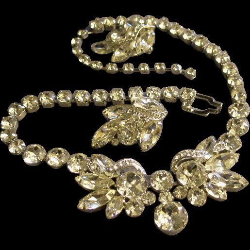 Eisenberg Ice Demi-Parure - Diamond Rhinestone Necklace & Earrings