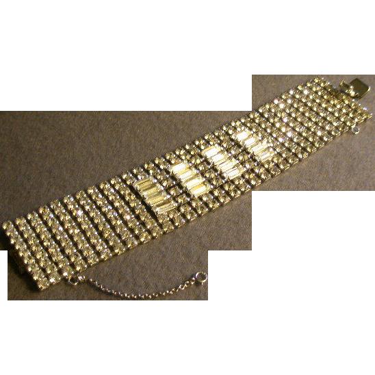 "Weiss Diamond Rhinestone Bracelet - Fabulous 1 1/2"" Width"
