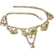 Vintage Silver-Tone & Diamond Rhinestone Necklace
