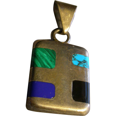 Vintage Mexican Mid-Century Sterling Silver Pendant w/Inlaid Semi-Precious Stones
