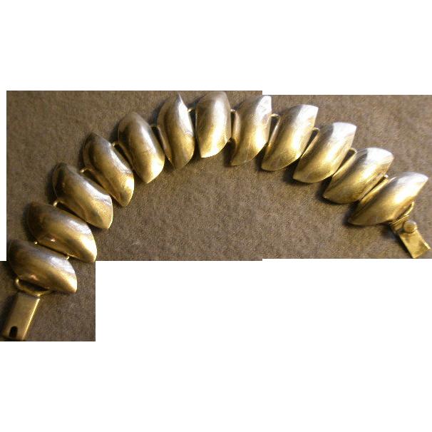 Mexican Modernist Sterling Silver Sculptured Panel Bracelet